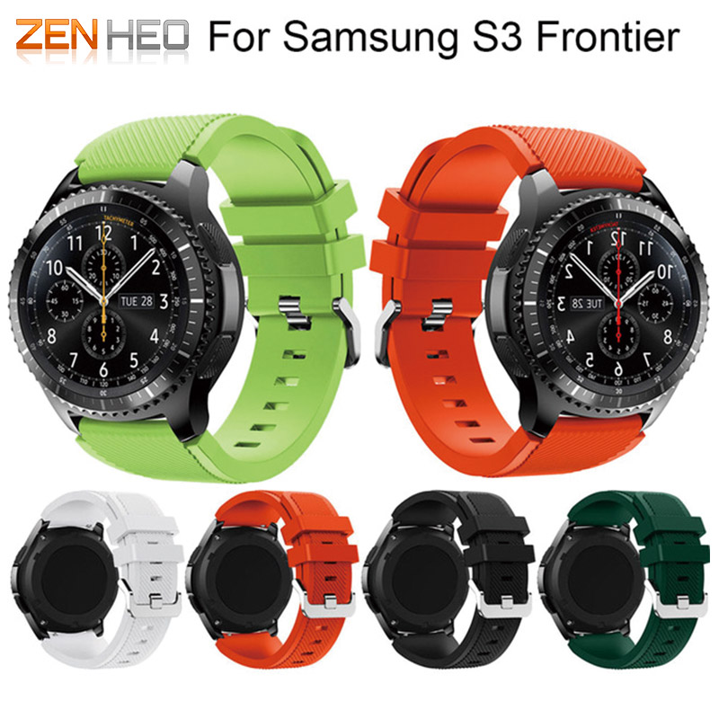 For Gear S3 Frontier / Classic Watch Band, 22mm Soft Silicone Man Watch Replacement Bracelet Strap for Samsung Gear S3 Wristband tearoke 11 color silicone watchband for gear s3 classic frontier 22mm watch band strap replacement bracelet for samsung gear s3