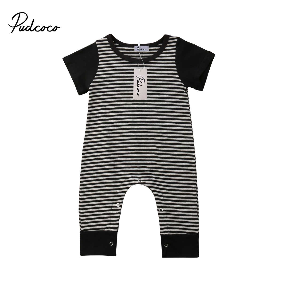 e7417de90b6e 2018 Brand New Newborn Infant Toddler Baby Boy Kid Overall Romper Jumpsuit  Striped Short Sleeve Clothes