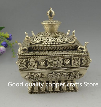 China archaize white copper carved eight treasures dragon incense burner Statue