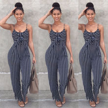 a4b926c8699 Elegant Striped Sexy Spaghetti Strap BacklessBow Casual Wide Leggings  Women s Sleeveless Jumpsuits Overalls Jumpsuits(China