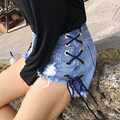 Inngraee 2017 Summer Shorts Women Vintage Club jeans Denim Shorts Sexy Hip Hop Skull Patch Plus Size Ripped Shorts NS8436