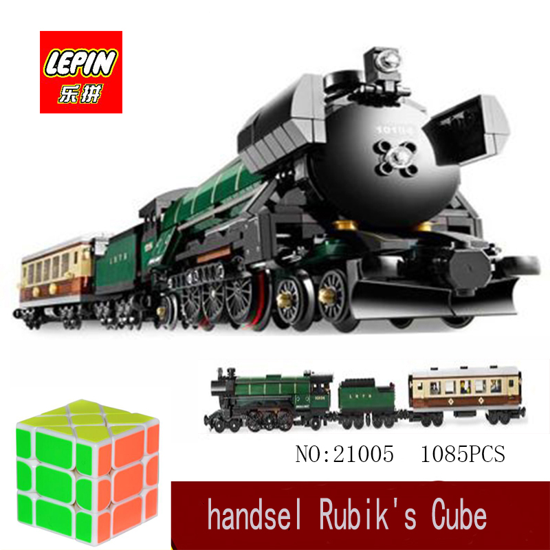 LEPIN Technic Series Lepin 21005 The Emerald Night model building blocks set Classic compatible Steam trains Toys Christmas Gif