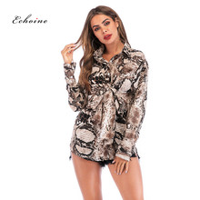 Echoine Women Blouses Office Lady Sexy Snake Skin Print Long Sleeve Button Spring Autumn Tops Turn-Down Collar Fashion Workwear