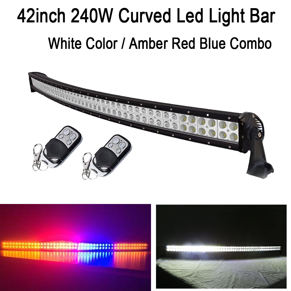 42 240W White/Amber Red Blue Amber Combo StrobeFlash Led Curved Work Light Bar Signal Lamp Decoration for Jeep offroad ATV Ford