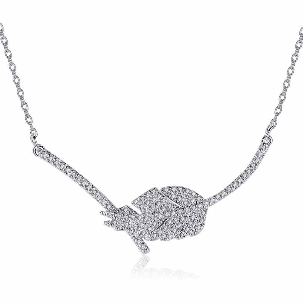 Luxury One Piece Leaf Women Pendant Necklace Micro Paved Tiny Cubic Zircon Crystal Link Chain Jewerly Girl Party Accessories Gif