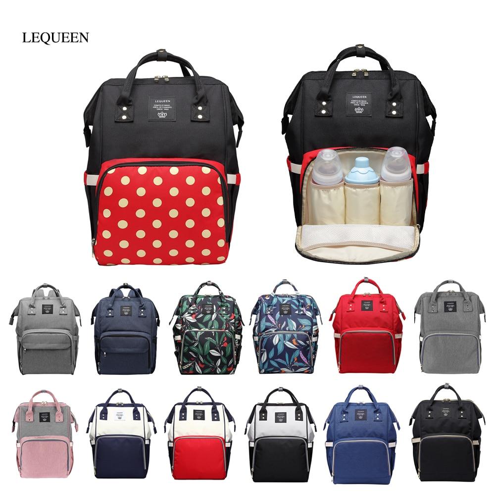 Original LEQUEEN Fashion Mummy Maternity Nappy Bag Large Capacity Travel Backpack Nursing Bag Women Handbag Drop Shipping