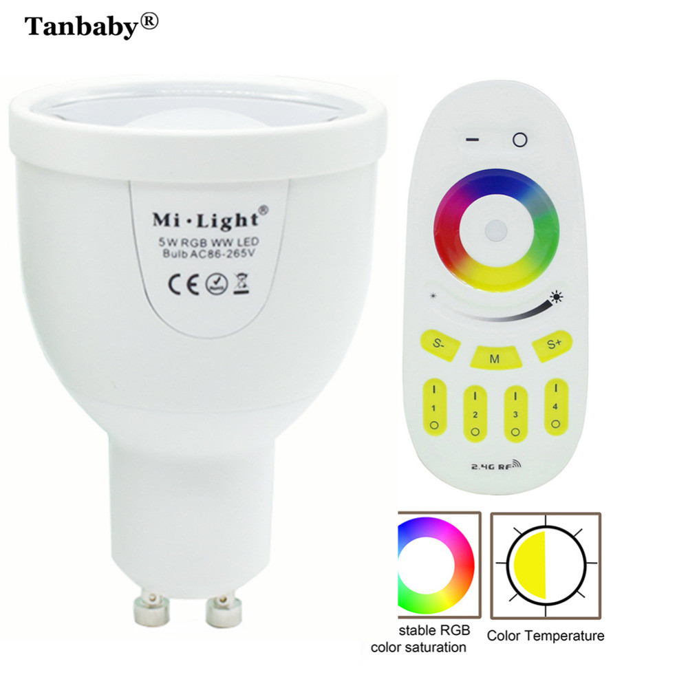 Tanbaby Dimmable Milight Led Lamp GU10 5W Led Light Bulb Lampada RGBW RGBWW led spotlight +2.4G RF Remote Controller