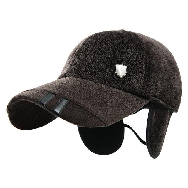 Masculino inverno quente proteção de orelha boné de beisebol de veludo manter aquecido homem inverno chapéu viseira sombra ao ar livre à prova de vento mais velhos