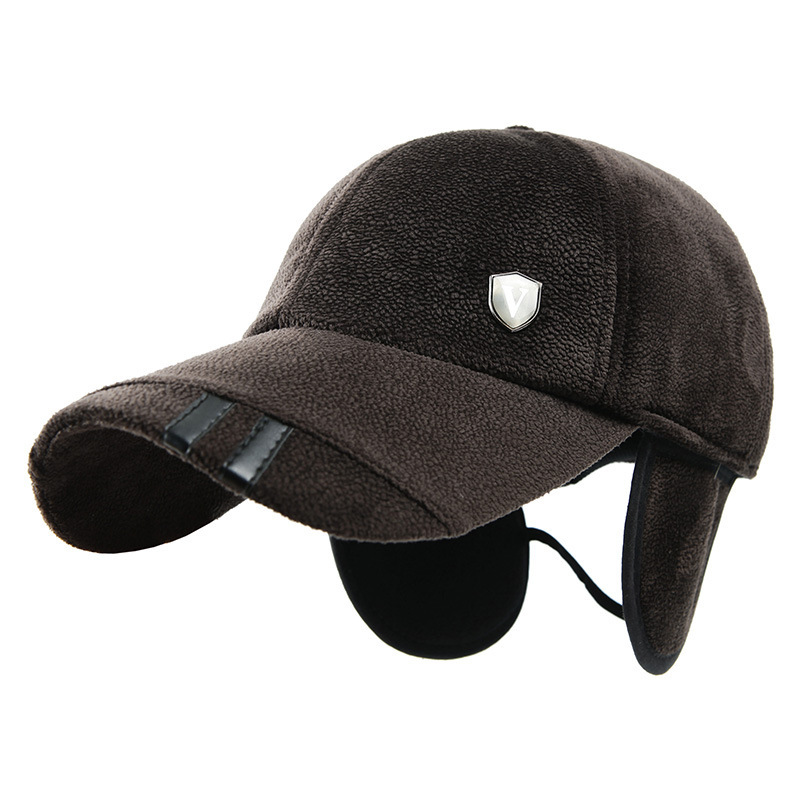 male warm winter ear protection baseball cap corduroy keep man hat outdoor shade windproof older visor