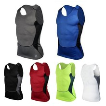 Men's Quick Dry Fitness Base Layer Top Compression Sleeveless Breathable Shirts