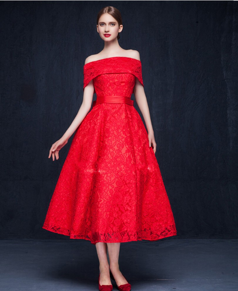 இReal Photo China Red Original Design Elegant Cocktail Dress Lace ...