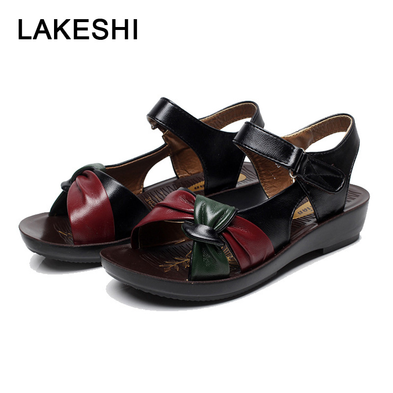 LAKESHI Women sandals 2018 summer flat sandals fashion Mother shoes leather Soft bottom ladies sandals comfortable women shoes ylqp women s genuine leather sandals shoes summer soft bottom comfortable flat bottomed mother sandals hollowed out ladies shoes