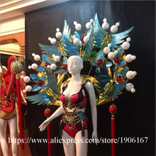 Fashion Carnival Victoria Chinese StyleWings Catwalk Sexy Lady DS Ballroom Costume Stage Dance DJ Singer Cosplay