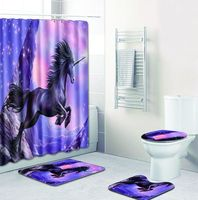 Bath Rugs Four piece Unicorn 4pcs Set Girl Bathroom Shower Curtain and Toilet Seat Covers and Carpet In Bath Mats and Foot Pad
