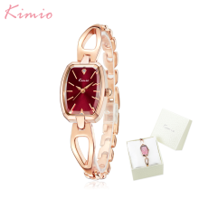 Top Brand Kimio Fashion Women Watches Square Dial Dress Ladies pulsera reloj de pulsera de cuarzo Felogio Feminino mujer caja de regalo