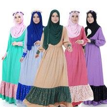 Fashion Abaya Muslim Lace Maxi Dress Women Islamic hijab Clothing Turkish Elastic waist Clothes Robe Musulmane dresses Vestido