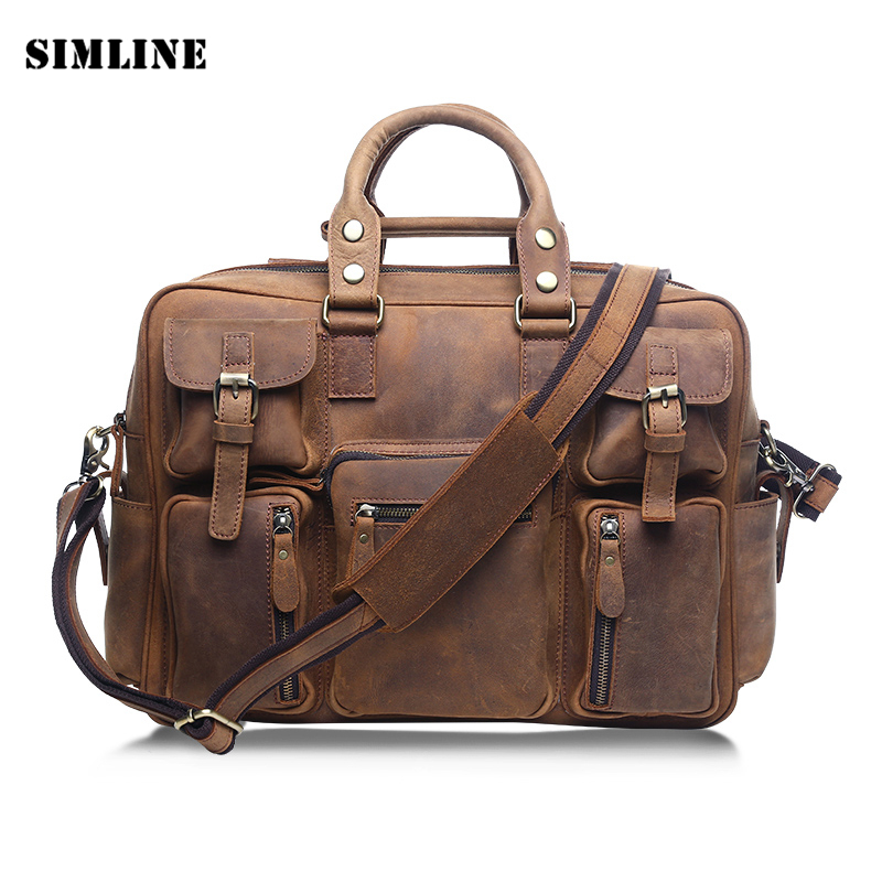 Brand Vintage Casual 100% Genuine Crazy Horse Leather Cowhide Men Travel Handbag Handbags Shoulder Bag Bags Briefcase For Man цена и фото