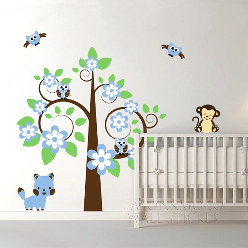 Grande fleur arbre singe hibou chat vinyle mur Sticker Mural Sticker Mural papier peint bricolage bébé enfants chambre pépinière décoration de la maison 160x175 cm nouveau