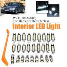 27 шт. белый DC12V интерьер автомобиля светодиодный лампы Внутреннее Потолочные плафоны плиты лампы накаливания для Mercedes-Benz E класса w211 2002-2008