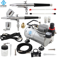 OPHIR 2 Guns 0.2&0.3&0.5mm Dual Action Airbrush Kit with Air Compressor for Hobby Car Paint 110V,220V Airrbush Set_AC089+004+074