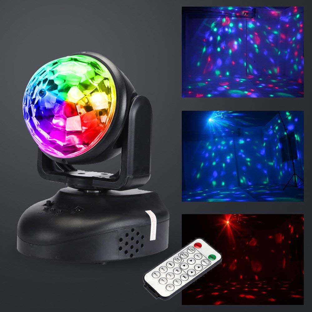 RGB Moving Head Party Light Built-in Speaker MP3 Strobe DJ Lighting MINI LED Beam Disco Ball Stage Lights with Sound-activated acrylic dj table on sale mix starter dj controller with built in sound card