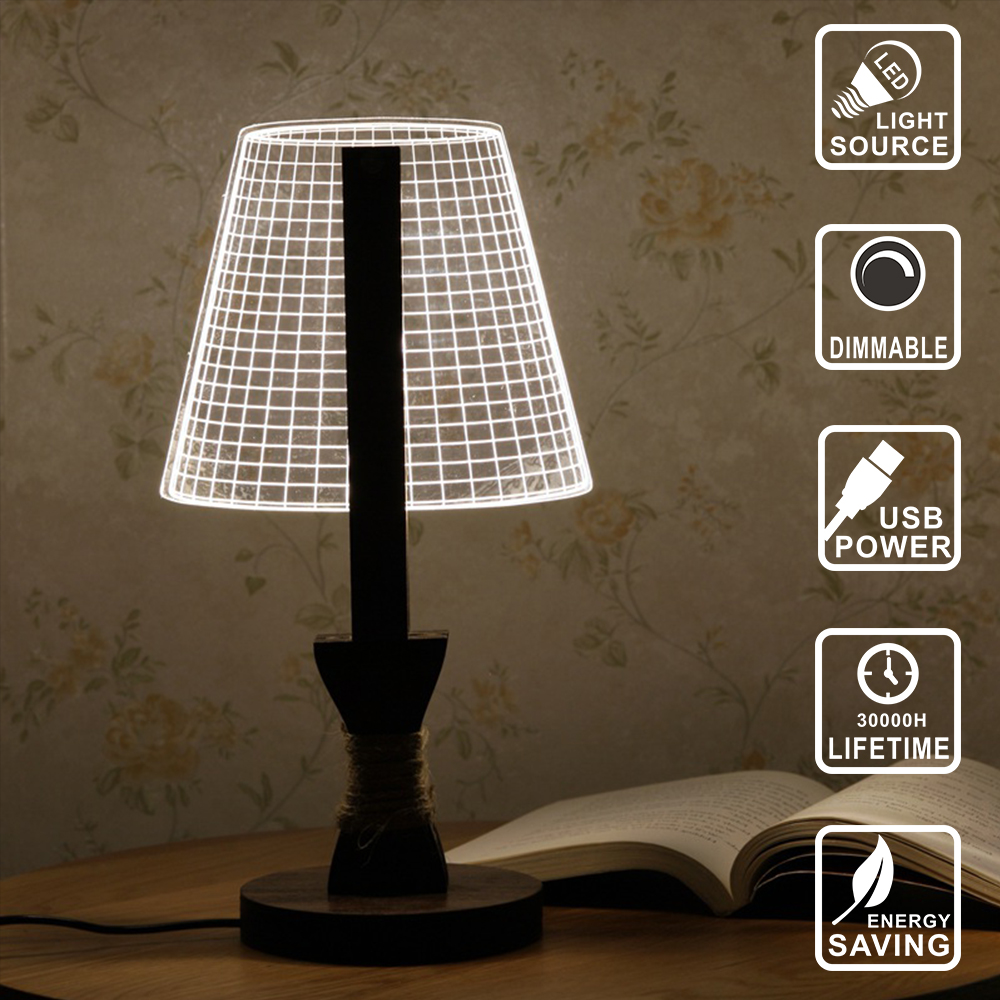 Decor lamp wood led bulb Wood light Acrylic 3D lamp Illusion Light Led Modern Living Table Lamp Micro USB Night Light IY801124 new in stock ve j62 iy vi j62 iy