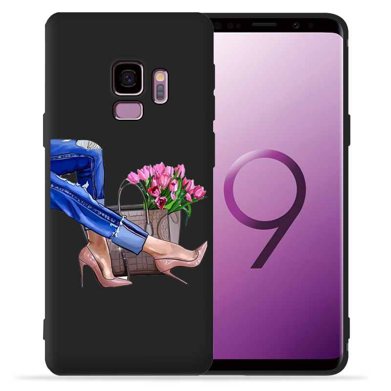 Fashion Girl Case For Samsung Galaxy S9 S8 S10 Plus S7 S6 Edge S10 Lite Note9 8 High Heels Coffee Flower Girl Phone Cover Etui