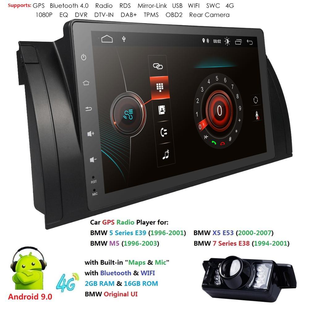 9 pouces Android 9 voiture DVD stéréo multimédia pour BMW E39 E53 M5 X5 avec Radio WiFi BT GPS Navigation stéréo