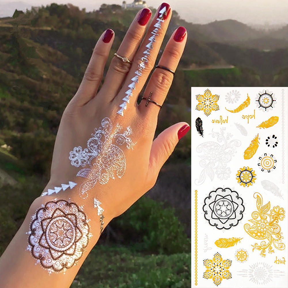 2015 New Fashion Environmental Metalic Silver Gold Temporary Body Tattoo Sexy Necklace Bracelet Tattoos Feather Anchor Stickers Beauty & Health