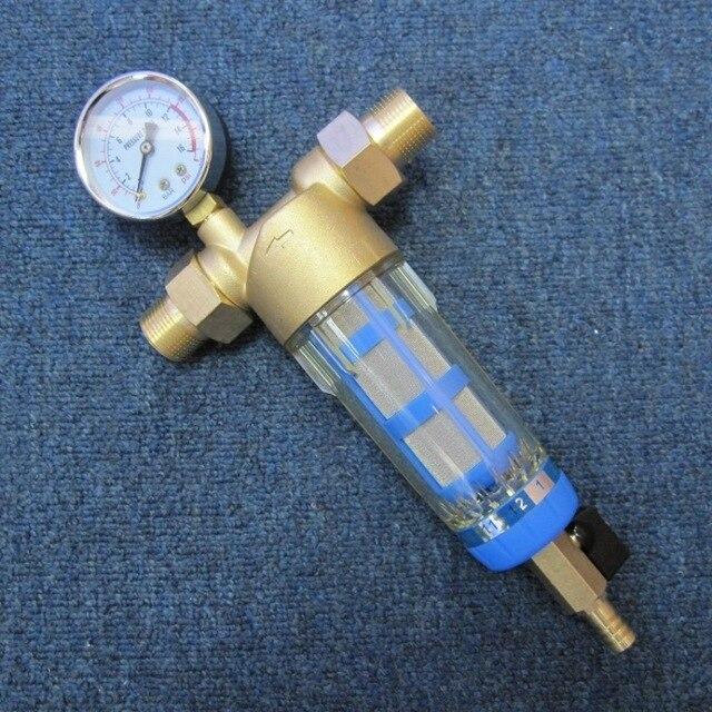Фильтр для воды preфильтр Siliphos, бытовой очиститель, гидрофильтр, центральный очиститель воды с манометром F06BP