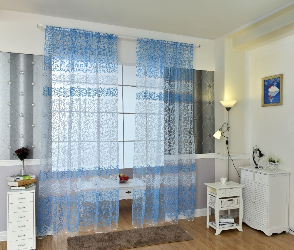 White Curtains In Living Room Blue White Curtain Promotion Shop For Promotional Blue White