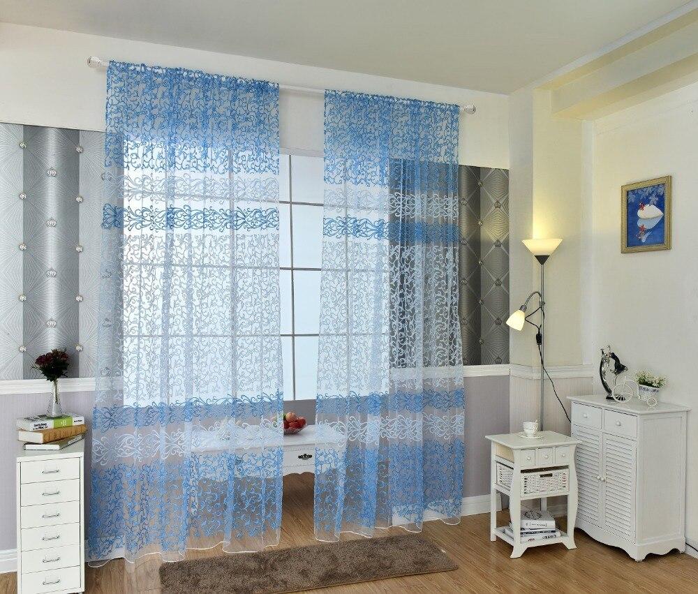 € 6.78 |Rideaux moderne bleu rouge blanc marron vert Tulle rideaux para  salon rideaux para chambre cuisine livraison gratuite 1 pc-in Rideaux from  ...
