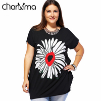 DEZZAL Women Baggy Casual T Shirt Summer Short Sleeve Round Neck Woman Tops Blouse Floral Print