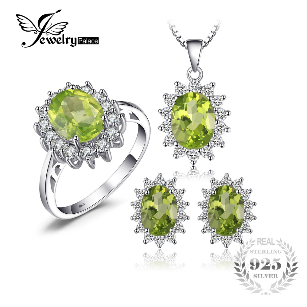 все цены на JewelryPalace Diana Style Peridot Stone Ring Pendant Earring and a Gift Chain Fine Jewelry Set Pure 925 Sterling Silver Jewelry