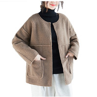 Lambswool Coat Woman Spring 2019 Winter Jacket Oversized O neck Casual Female Short Jacket And Coat For Women Cardigans f117