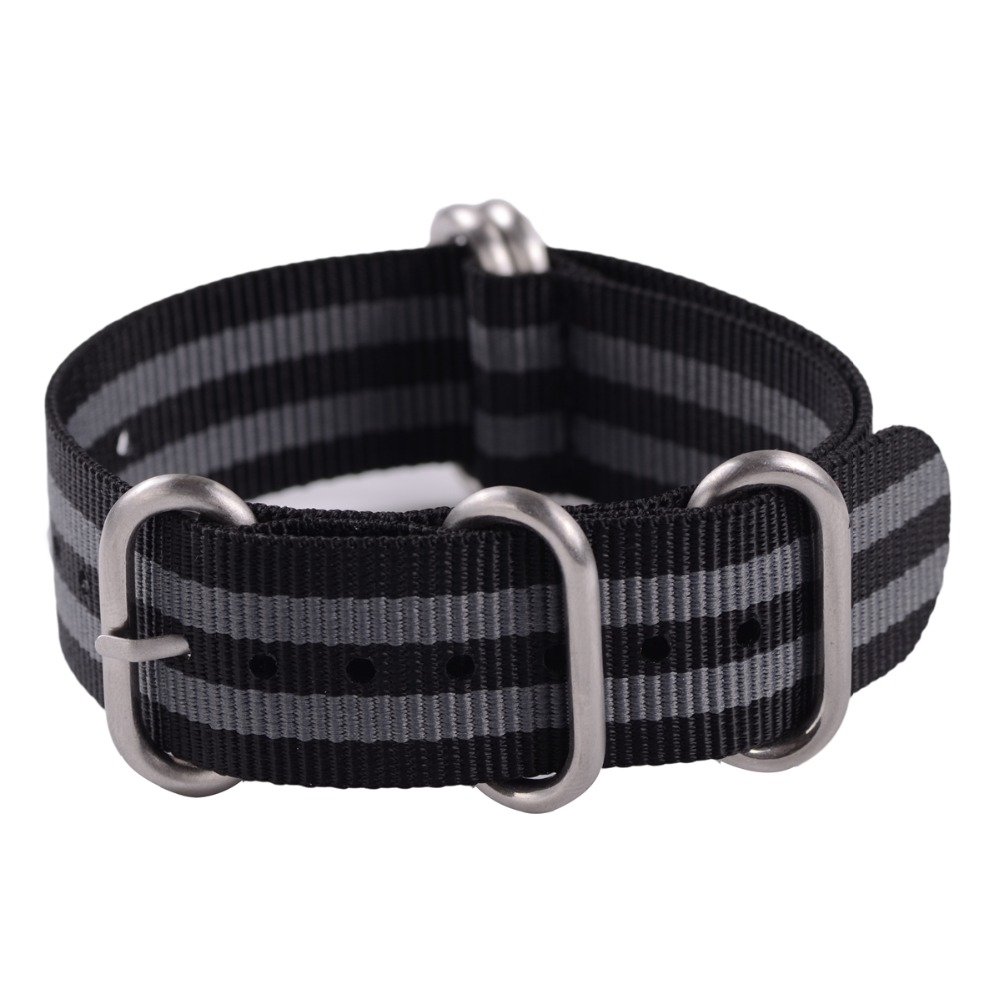 EACHE Top Quality 20mm 22mm 24mm Nylo Nato Zulu Watch Band Straps with 5 Rings Silver buckle& black buckle special offer wholesale 20mm nylon zulu watch band straps black orange black rings