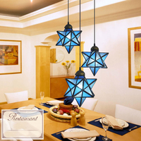 Mediterranean Style Tiffany Iron Stained Glass Coiled Pendant Lights 3 Heads Hanging Lamps for Home Decor, Bar, Restaurant