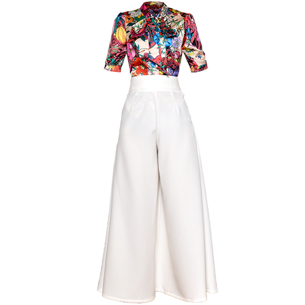 Red RoosaRosee Fashion Runway Suit Floral Print Short Sleeve Blouse Top + Wide-legged Long Pants 2 Piece Shirt Set Women Summer