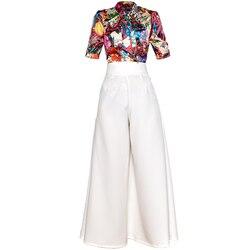 Red RoosaRosee Fashion Runway Suit Floral Print Short Sleeve Blouse Top + Wide-legged Long Pants 2 Piece Shirt Set Women Summer