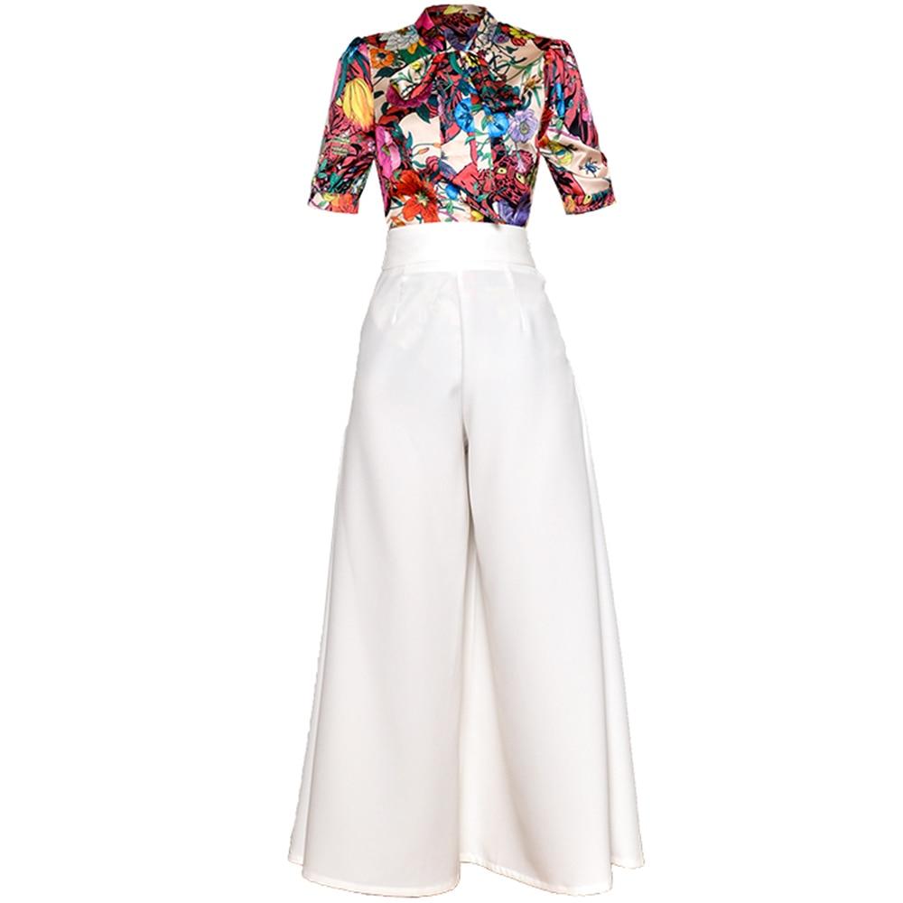 赤 RoosaRosee ファッション滑走路スーツ花柄半袖ブラウストップ + ワイド脚ロングパンツ 2 枚のシャツセット女性夏  グループ上の レディース衣服 からの レディースセット の中 1