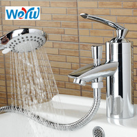 WEYUU Bathroom Basin Faucet with Shower Head Vessel Sink Water Tap Cold and Hot Mixer Toilet Taps Chrome Finish