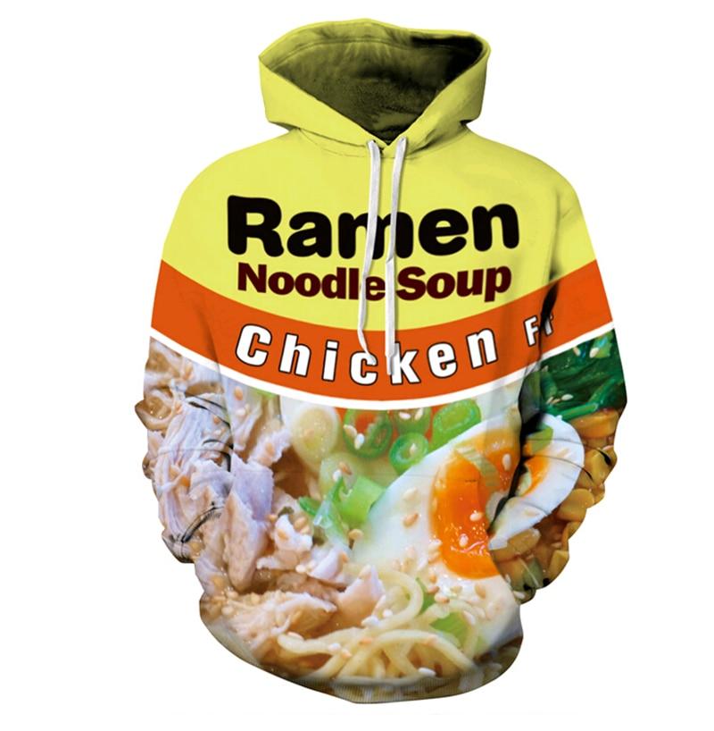 3D Hoodies Men Women Ramen Noodle Soup Print Sweatshirt Pork/Chicken/Beef Hip Hop Hooded Pullovers Tops free shipping