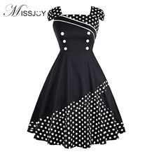 цена на MISSJOY Plus size dresses for women 4xl Off the Shoulde polka dot Button patchwork vintage Retro 50s 60s skater swing dress 2018