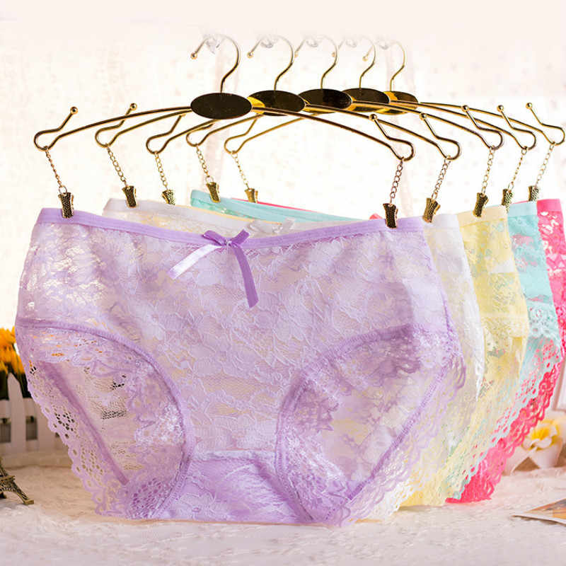 4f20ed36e13c 100pcs/pack Cotton Teenage Girls Underwear Hollow Lace Girl Soft Candy  Colors for Panties Kids