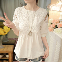 2016 sommer neue mode frauen shirt plus größe nette spitze blumen gedruckt shirt für frauen elegante lose baumwolle weißes hemd 59A 25