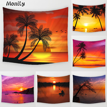 Monily Sea Scenic Polyester Arbor Coastline Sunset Printed Hanging Wall Tapestry Home Decor Yoga Mat Living Room Decoration