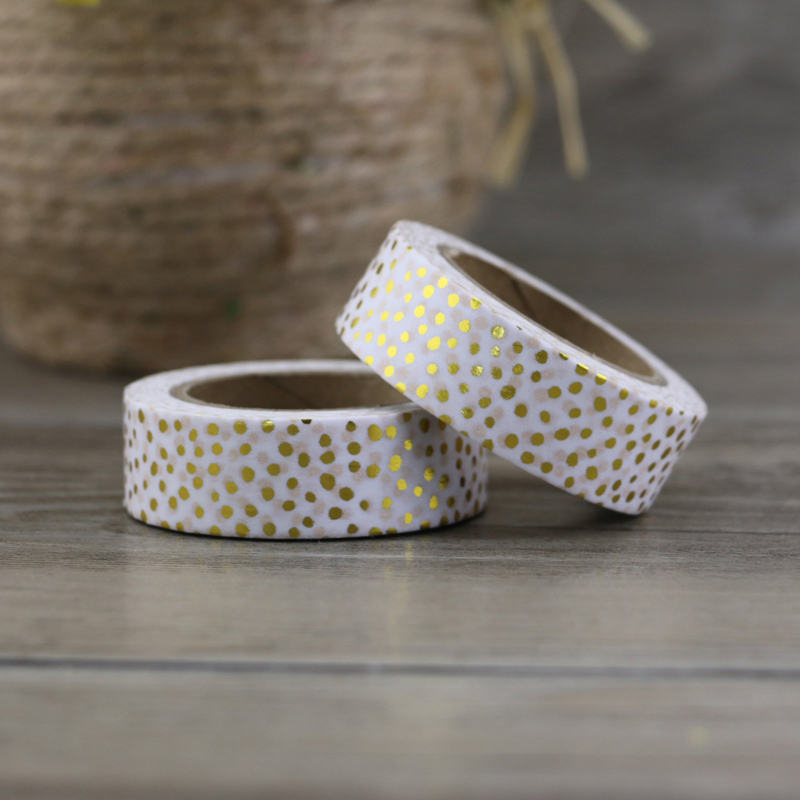NEW 1X Christmas Golden Foil Washi Paper Tape Golden Dot Washi Tape/15mm*10m