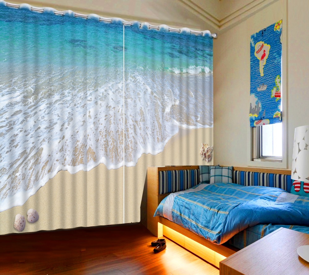 Modern Window Decoration Curtain Home Decor Drapes 3D Wave Beach Shells  Curtain For Bedroom Stereo 3D