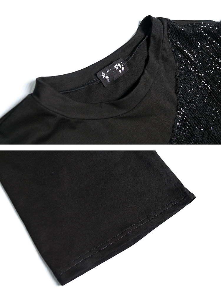 Taille T Superaen À Éclair Sequin Nouveau Col Pluz T Femmes Mode Printemps Décontracté Lâche shirt Fermeture Femelle 2019 Couture Rond Black Shirt De VpSUzMqG