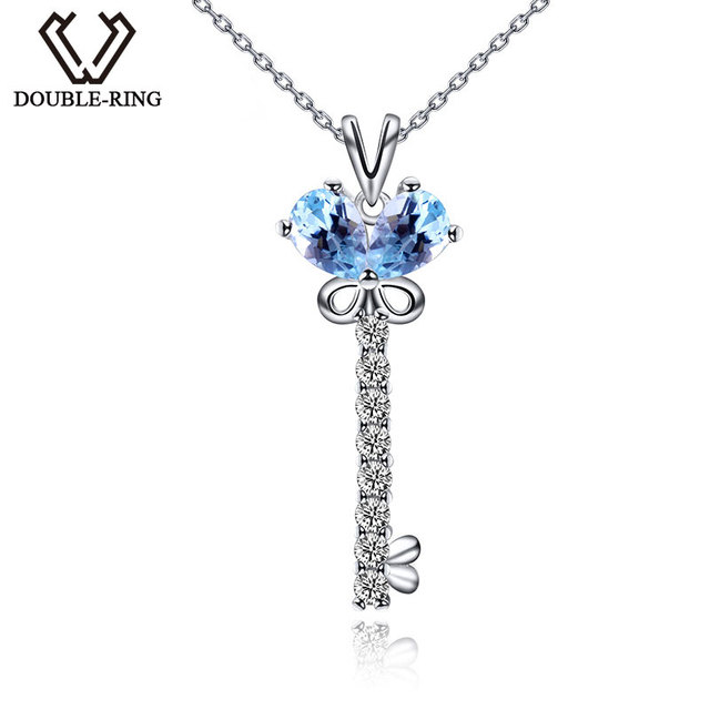 DOUBLE-RING Hot Heart Key Design Pendant CZ Blue Topaz 925 Silver Charm Jewelry Wedding Women Silver Chain for Gift CAP02441A
